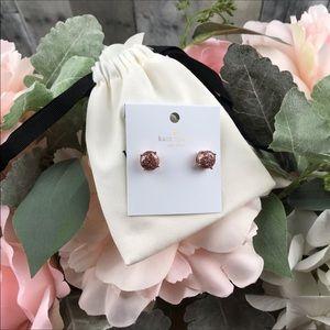 Kate Spade Rose Gold Glitter Gumdrop Earrings NWT